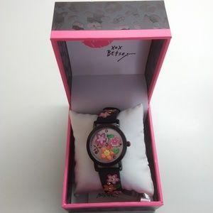 Betsey Johnson New Black Multi-Floral Watch